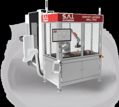 Darstellung der Beladezelle Smart Loader MILL 1100 adaptiert an einer Fräsmaschine